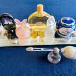 Lot 185  Mirrored Dresser Tray Music Box Perfume Bottles & Antique Glass Atomize
