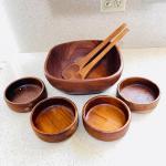 Lot 183  Vintage Red Wood Salad Bowls & Utensils