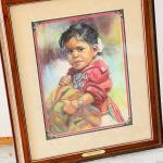 Lot 194  Original Pastel Painting by Carol Theroux Native American Little Girl