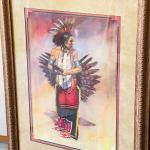 Lot 195  Original Pastel Painting by Carol Theroux Native American Man Eagle Fea