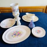 Lot 184  Group of Vintage White China Floral Patterns Art Glass Bell