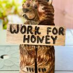 Lot 200  Chainsaw Wood Sculpture Friendly Bear w/Sign Work for Honey!