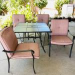 Lot 198  Contemporary Patio Table w/4 Armchairs