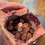 Kleenex box of pennies, who knows what you'll find