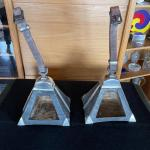Item 11. Pair of Peruvian Pyramid shape wood and sterling silver stirrups with l
