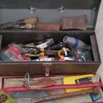 #150 Vintage Metal Tool Box & Contents