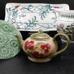 #173 Porcelain Portmeirion Botanic Tea Pot & More FINE LOT