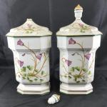 Set of 2 Decorative Floral Ceramic Urns *Broken*