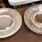 Lot #250  7 Clear Glass Salad/Dessert Plates with Acid-Etched design