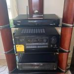 #187 TOP NOTCH Tall Wood & Glass Entertainment Stand