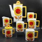 #183 RARE Vintage Napcoware Sunflower Tea Coffee Set of 7pcs 1970s
