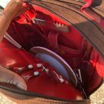 Radio, complete picnic basket backpack, Porcelain Antique doll