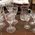 Lot #248  Lot of Vintage Acid-Etched Crystal - Wine goblets/Cordial Glasses