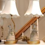 #197 Pair Of Dresden Lace Figurine Lamps