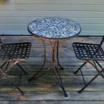 Small Round Mosaic Patio Table & Two Chairs. Local pick up only in Auburn, CA.