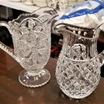 Lot #251  Two Pitchers - One crystal, one Early American Pressed Glass