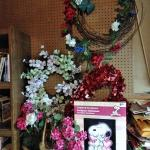 LOT 296 FAUX FLOWER WREATHS AND MORE