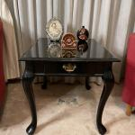 Mission Style Black Side Table with Pull Out Drawer
