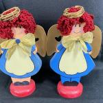 Matching Painted Wood Angel Figurines