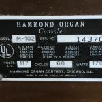 M102 Hammond Organ