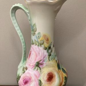 "Photo of PL LIMOGES FRANCE handle vase 10 1/2"" tall"