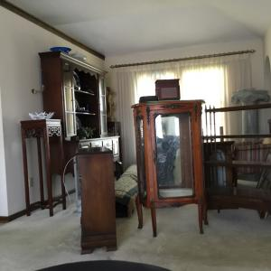 Photo of Antique French Wood & Brass China Cabinet
