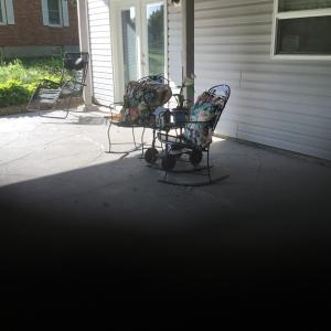 Photo of 2 Blue Iron Rocking Chairs with 2 pillows