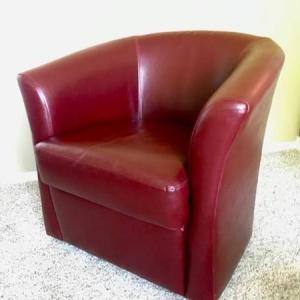 Photo of LEATHER 360 SWIVEL BARREL CHAIR