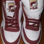 Red and white Fila shoes