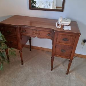 Photo of Antique Dresser With Mirror and Matching Chest of Drawers