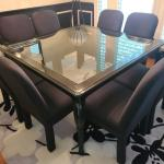 Square Glossy Ebony Dining Room Table