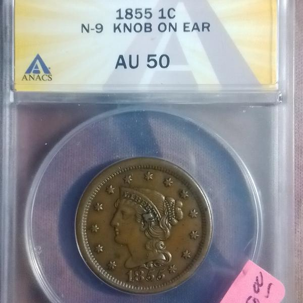 Photo of 1855 one cent N9 KNOB ON EAR