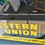 Authentic Western Union LIGHT 2-sided sign  Man Cave, Rec Room decor, Store Use
