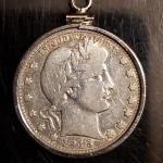 Silver 1915 quater in silver  bezel .Very cool Rare silver quater jewelery