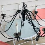 Vintage wrought iron chandelier candelabra hanging ceiling light