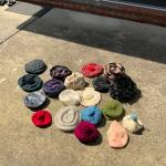 Lot of vintage hats, caps and tams