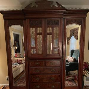 Photo of LOT 138 - Antique Wood Wardrobe Armoire, 6 piece