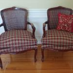TWO SOLID CHERRY WOOD CHAIRS