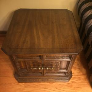 Photo of Beautiful wood coffee table with 2 end tables with storage