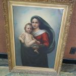 """Late 1900's 24 x 32 Mother Mary Religious Paint""""."""