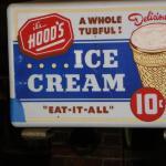 1960's Hoods Ice Cream sign with light.
