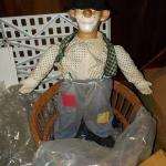 1900's Life size clown doll in Basket.