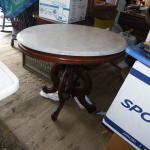 """Vintage Drexel design White marble end table."""