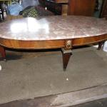 Oval 34 in. Pink French Marble Coffee table.