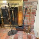 Lot 282 - Iron & Brass Hearth Sets