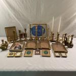 Lot 280 - Brass Frames, Figurines & Candlesticks