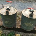 Vintage metal gas cans
