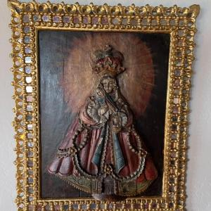 Photo of Item 2. RARE Tabladilla  Virgin of Guápulo, painted carved relief in wood, Mado
