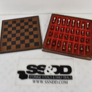 Photo of Chess Board with Metallic Game Pieces (Silver/Gold-Toned) and Storage