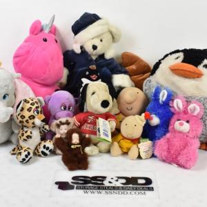 Photo of Lot of Stuffies and Furry Toys: Penguin, Unicorn, Bears, etc